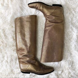 Schöpp Gold Leather Snake Flat Knee High Boot 39.5